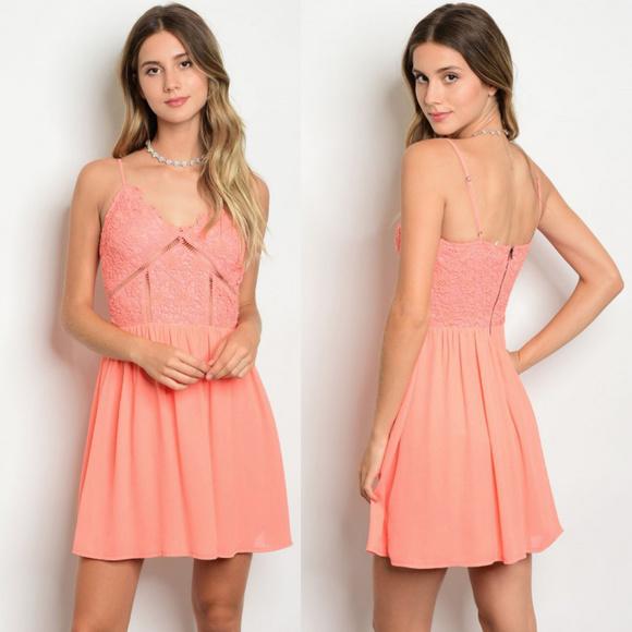 339c75278eb3 Dresses | Lace Dress Sexy Summer Dress Sleeveless Coral | Poshmark